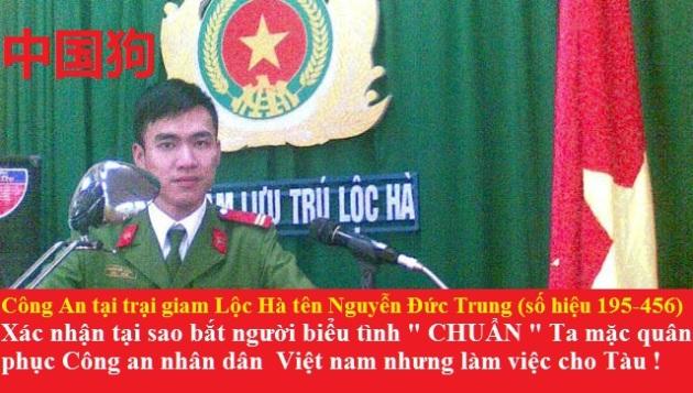 CA tại trại giam Lộc Hà tên Nguyễn Đức Trung (số hiệu 195-456)