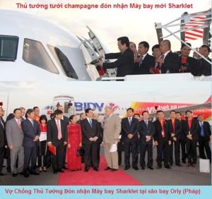 Thủ tướng tham gia nghi thức tưới champagne đón nhận may bay airbus a Sharklet