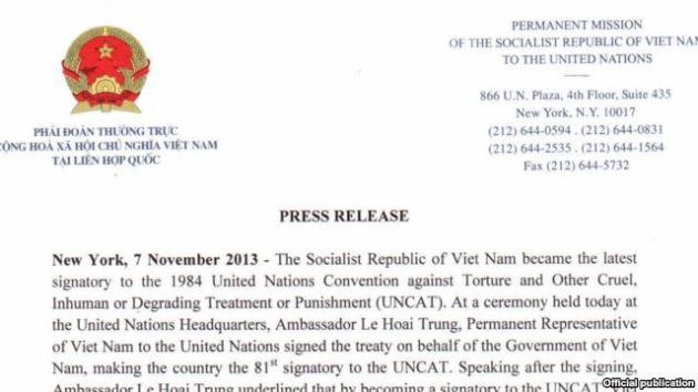 Việt Nam ký tham gia Công ước chống tra tấn